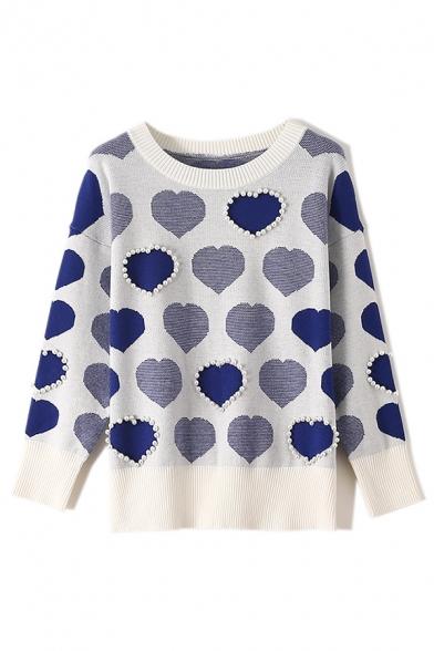 Leisure Faux Pearl Embellished Heart Pattern Long Sleeve Fashion Sweater Knitwear, Blue;pink, LM579963