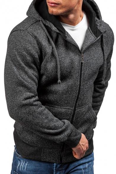 Men's Simple Long Sleeves Zip Up Whole Colored Fleece Hoodie