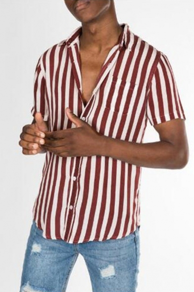 Mens Classic Stripe Printed Short Sleeve Button Up Relaxed Fit Leisure Shirt