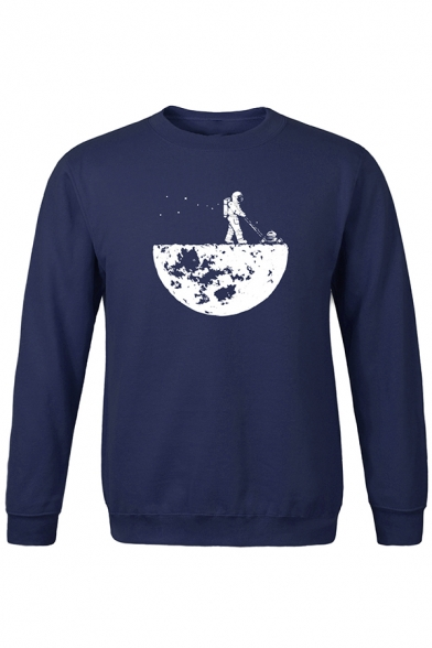 Mens Popular Astronaut 3D Pattern Long Sleeve Round Neck Casual Pullover Hoodie