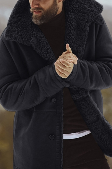 Mens Warm Solid Color Long Sleeve, Long Faux Fur Lined Winter Coat