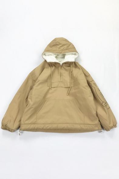Plain Trendy Long Sleeve Hooded Half Zip Bear Print THE THREE BEARS Letter Kangaroo Pocket Drawstring Sherpa Liner Boxy Coat for Women
