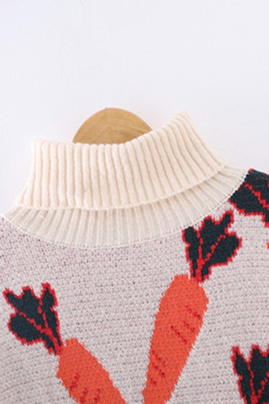 Stylish Girls' Long Sleeve Turtleneck Carrot Patterned Knit Baggy Pullover Sweater