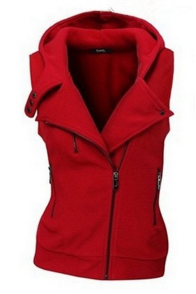 Trendy Ladies' Sleeveless Hooded Zipper Embellished Button Detail Plain Fitted Vest LM579193 фото