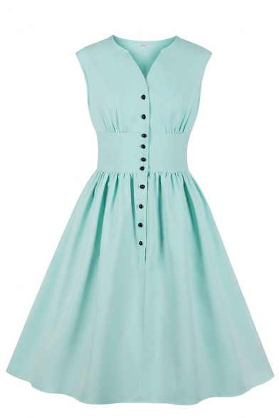 Trendy Ladies' Sleeveless V-Neck Button Down Mid Plain Pleated Flared A-Line Dress