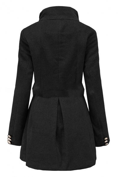 Trendy Plain Long Sleeve Stand Neck Button Down Bow Tie Waist Fitted Long Wool Coat for Women