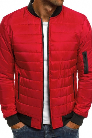 Winter Popular Solid Stand Collar Zip Up Side Pocket Down Coat Padded Baseball Jacket