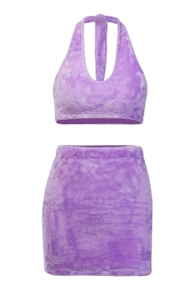 Womens Sexy Popular Halter Cropped Top with Mini Skirt Purple Plush Two Piece Co-ords
