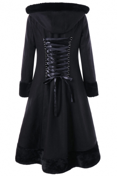 Basic Female Long Sleeve Hooded Double Breasted Lace Up Back Fluffy Trim Pleated Midi Swing Wool Coat in Black