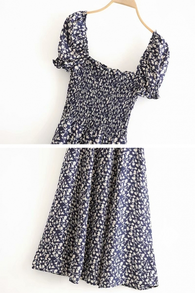Black Fancy Short Sleeve Square Neck Floral Patterned Ruffle Trim Pleated Relaxed A-Line Dress for Girls