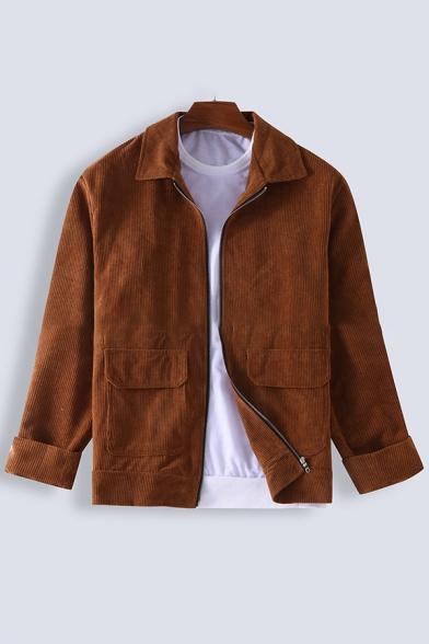 Casual Fashion Plain Brown Long Sleeve Zip Placket Flap Pocket Corduroy Jacket