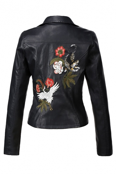 Cool Black Long Sleeve Notch Collar Zipper Front Floral Embroidered Button Decoration Fitted Wrap Leather Jacket for Girls
