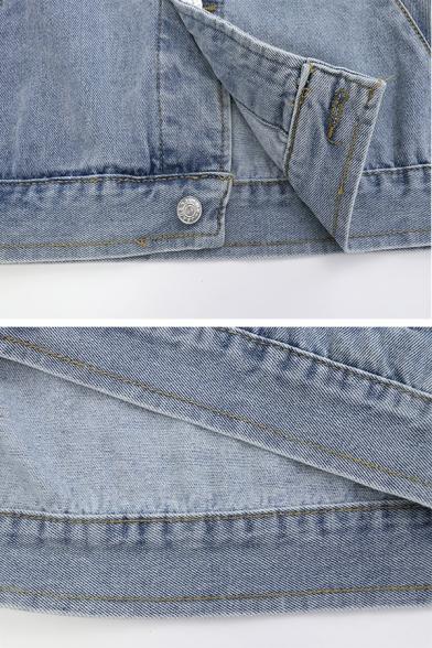 Cool Girls' Sleeveless Lapel Collar Button Down Utility Pockets Oversize Denim Vest in Light Blue