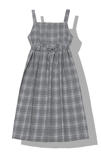 Cute Ladies' Sleeveless Bow Tie Waist Plaid Printed Loose Long Pleated A-Line Cami Dress