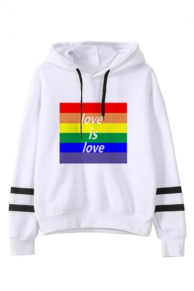 Cute Rainbow Heart Letter Cartoon Pattern Striped Long Sleeves White Drawstring Hoodie