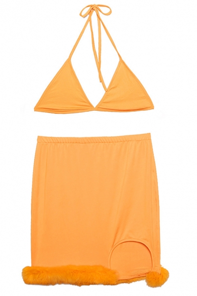 Edgy Girls Plain Halter Neck Triangle Bikini Top with Plush Panel Split Hem Mini Skirt Co-ords