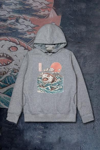 Fancy Sushi Shark and Sea Wave Printed Long Sleeves Unisex Drawstring Hoodie