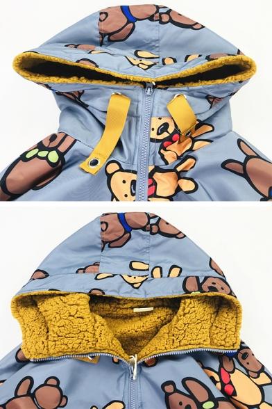 Fashion Cute Long Sleeve Hooded Half Zipper Teddy Bear Print Flap Pocket Drawstring Sherpa Liner Oversize Short Jacket for Women