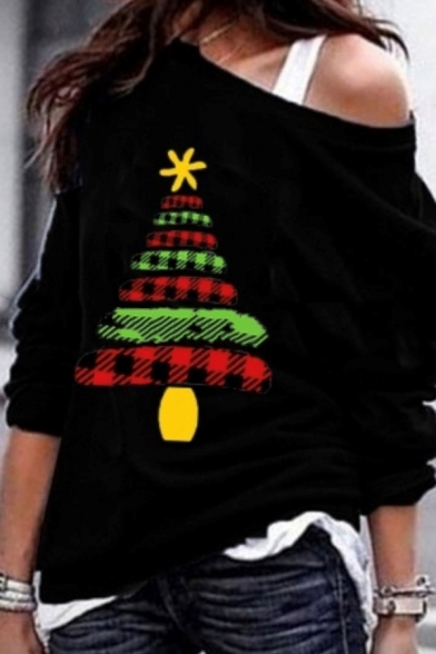 Girls' Cool Christmas Long Sleeve Drop Shoulder Christmas Tree Printed Relaxed Pullover Sweatshirt, Black;red;gray;purple;navy, LM582306