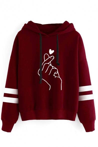 Girls' Streetwear Cool Long Sleeve Drawstring Finger Heart Print Loose Fit Varsity Striped Hoodie