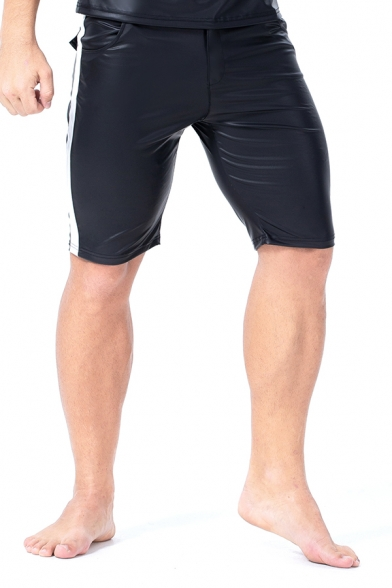 Classic Stripe Side Zipper Fly Skinny Fit Black PU Leather Shorts