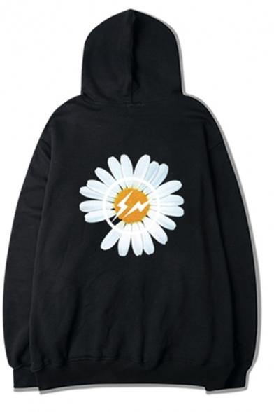 Kpop Girls' Street Long Sleeve Drawstring Daisy Flower Patterned Kangaroo Pocket Oversize Boyfriend Hoodie in Black, LM575771