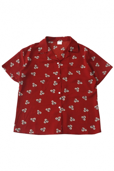 Red Fashion Short Sleeve Notch Collar Button Down Leaves Print Relaxed Shirt for Girls