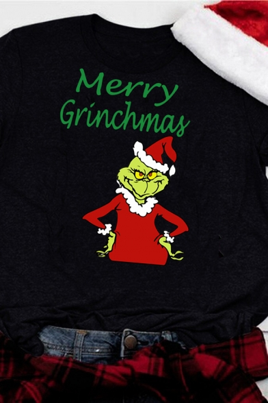 Street Black Short Sleeve Crew Neck Letter MERRY GRINCHMAS Grinch Printed Relaxed Fit T Shirt for Women, LM581733