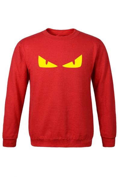 Terrible Monster's Eyes Printed Crew Neck Long Sleeve Leisure Sports Sweatshirt