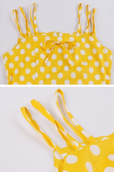 Trendy Fancy Ladies' Sleeveless Bow Tie Polka Dot Printed Zipper Back Knee Length Pleated Flared Cami Dress