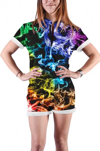 Unisex Fashion Colorful Geometric Smoke Pouring Paint 3D Pattern Short Sleeves Zipper Romper