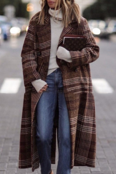 Warm Casual Women Long Sleeve Notch Collar Plaid Pattern Button Front Long Baggy Wool Coat in Brown