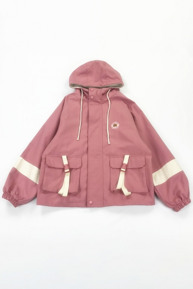 Women Plain Casual Thick Blouson Sleeve Hooded Drawstring Button Down Bear Embroidered Pockets Buckle Detail Striped Boxy Jacket