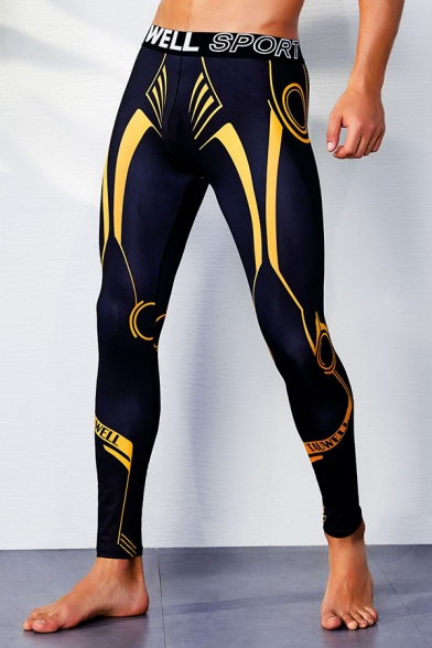 Athletic Painted Pattern Letter Tape Decoration Yoga Pants Sports Leggings for Men