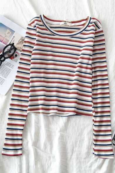 Casual Popular Long Sleeve Round Neck Stripe Printed Fitted Tee for Women, Blue;green;pink;red;rose red;purple;yellow, LM583577