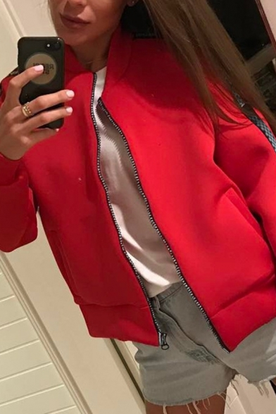 Casual Red Long Sleeve Crew Neck Zipper Front Plaid Printed Relaxed Fit Jacket for Girls