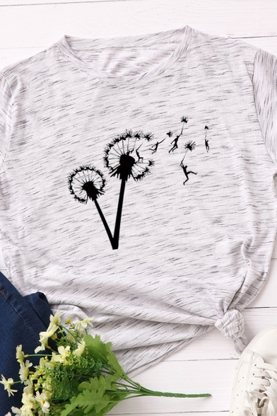 Casual Women's Short Sleeve Crew Neck Dandelion Printed Tied Loose Fit T Shirt