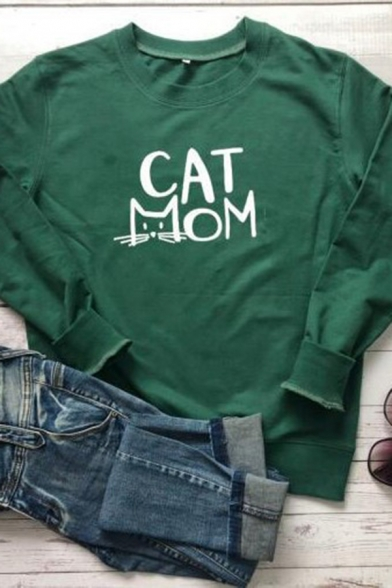 CAT MOM Letter Printed Long Sleeve Round Neck Relaxed Fit Leisure Sweatshirt, Black;green;gray;yellow, LC583541