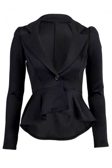 Chic Plain Long Sleeve Notch Lapel Collar Button Front Slim Fit Pleated Peplum Blazer for Ladies, Black;burgundy;rose red;apricot;dark blue, LM579510