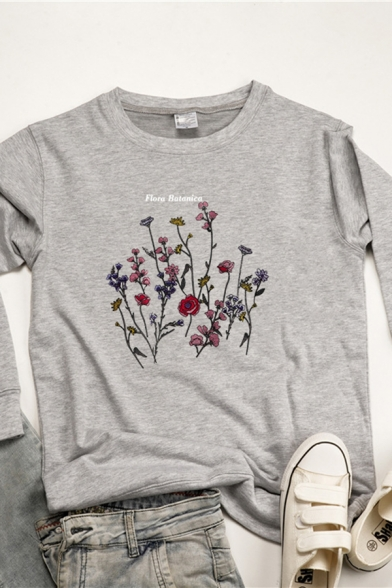 Colorful Flower Printed Long Sleeve Round Neck Loose Fit Pullover Sweatshirt, Black;pink;gray;yellow, LC583261