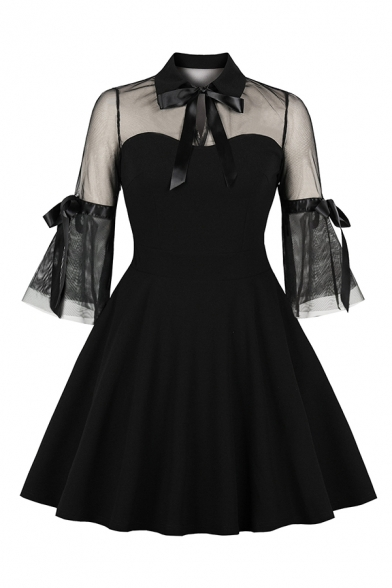 Cool Party Girls' Bell Sleeve Lapel Neck Bow Tie See-Through Mesh Patched Midi Pleated Flared Dress in Black