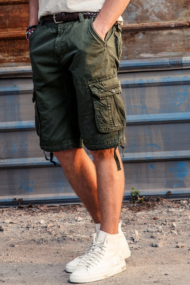 Cool Plain Multi Pockets Zipper Fly Ribbon Decoration Relaxed Military Shorts for Men