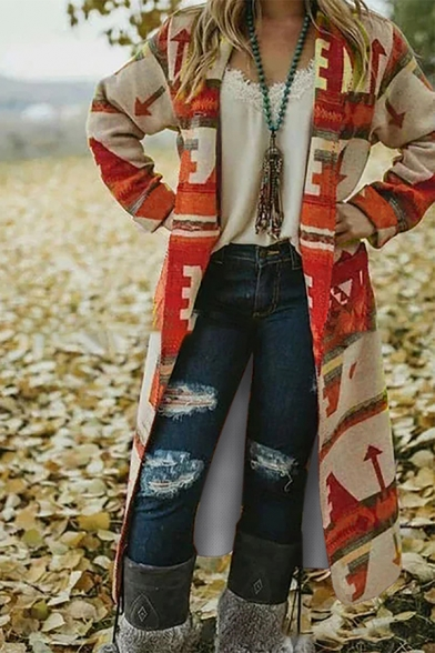Ethnic Fashion Women' Long Sleeve Arrow Mixed Pattern Oversize Maxi Knit Cardigan, Blue;green;pink;red;gray, LM580557