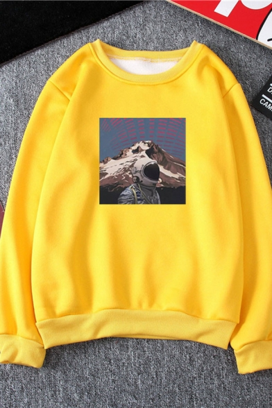 Exclusive Astronaut Mountain Geometric Print Long Sleeve Relaxed Fit Pullover Sweatshirt
