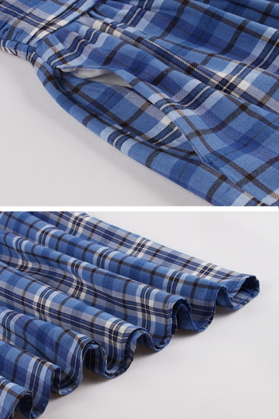 Formal Blue Short Sleeve Notch Collar Button Front Plaid Patterned Mid Length Pleated Flared Dress for Women