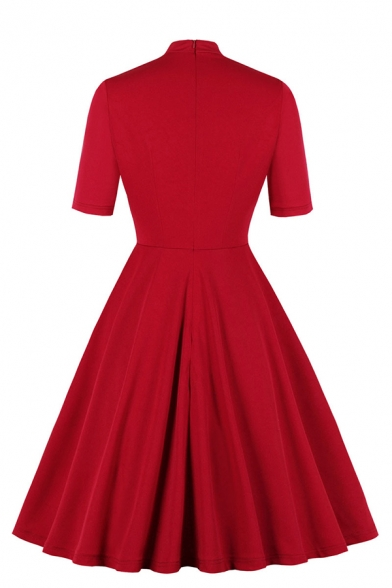 Formal Fancy Girls' Short Sleeve Neck-Tie  Zipper Back Hollow Out Midi Pleated Flared Dress in Red