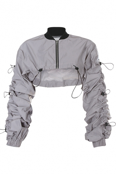 Girls' Unique Street Balloon Sleeve Mock Neck Zipper Front Drawstring Reflective Loose Fit Coat in Silver