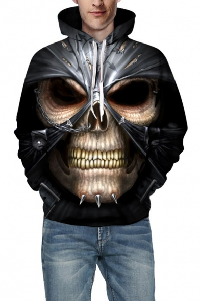 Guys Popular Cool Skull 3D Pattern Long Sleeves Relaxed Fit Black Pullover Hoodie