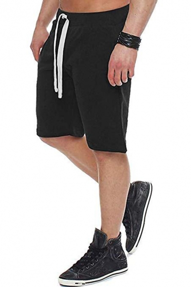 Hot Sale Mens Cool Solid Color Drawstring Waist Loose Sports Shorts for Summer