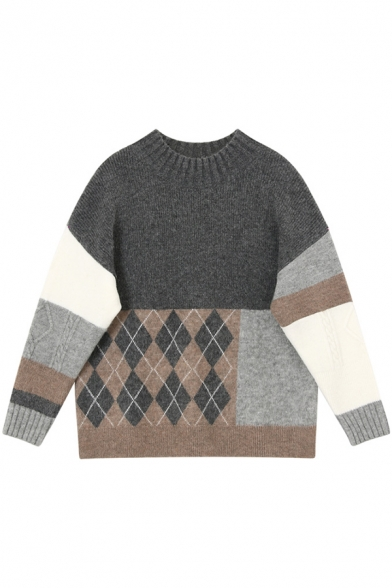 Leisure Colorblock Argyle Patchwork Long Sleeve Round Neck Leisure Knit Sweater, Grey, LM579741
